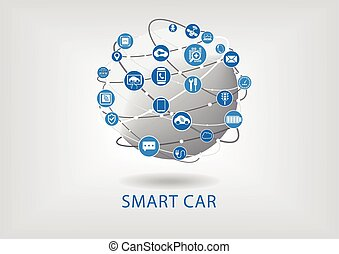 Connected smart car infographic - Connected smart car vector...