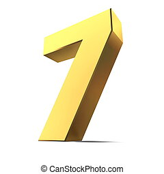 Shiny Number 7 - Gold - shiny 3d number 7 made of gold