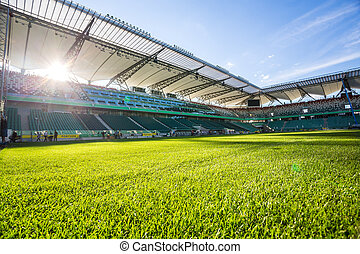 Legia stadium during sunny, summer day - Warsaw, Poland -...