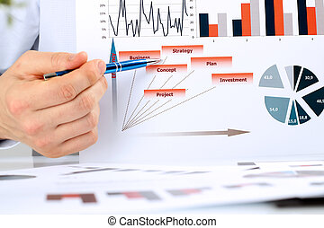 business man analyzing financial figures on a graphs