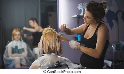 Professional hair coloring beauty studio. The girl in the...