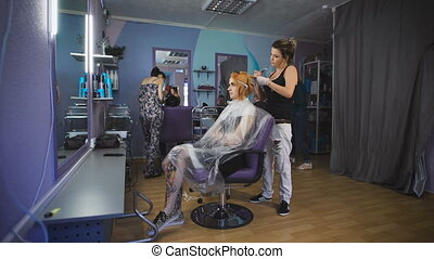 Emo hipster girl came to the studio for the hairstyle. She...