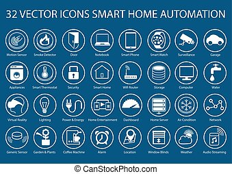 Smart home vector icons and symbols - Customizable vector...