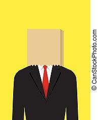 Paper Bag Face Businessman - Illustration of a businessman...