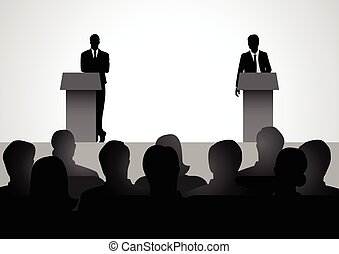 Two men figure debating on podium - Silhouette illustration...