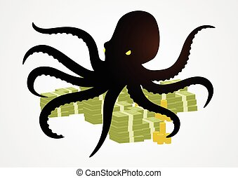 Octopus - Silhouette illustration of an octopus holding...