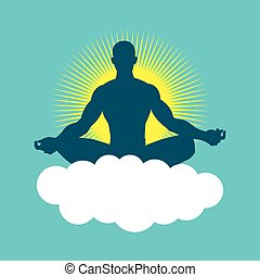 Enlightenment - Silhouette of a man figure meditating with...