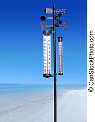 thermometer - ocean coast at sumer sunny day and thermometer