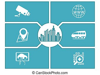 Smart city concept with icons.