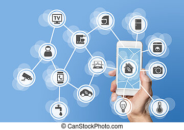 Smart phone and home automation - Home automation concept...