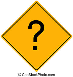 Question Sign - Image of a question mark on a yellow road...