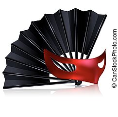 black fan and red mask - white background and the black fan...