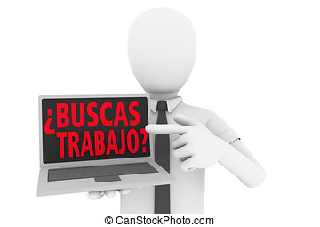 Buscas un trabajo - A man pointing to laptop screen with the...