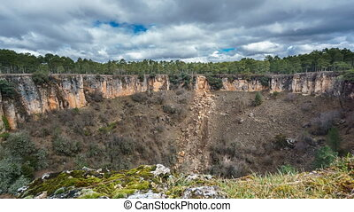 Wide angle of deep wolf torca in Cuenca. Sliding camera -...
