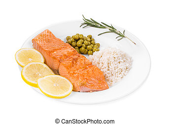 Grilled salmon fillet with risotto. - Grilled salmon fillet...