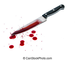 Bloody knife - Bloody kitchen knife, and blood spots on the...
