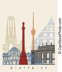 Stuttgart skyline poster in editable vector file