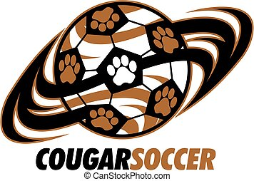 cougar soccer team design with paw prints for school,...