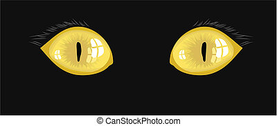cat eyes - yellow cat eyes illustration on a black...