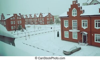 Snow in townhouse residential area clip