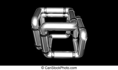 Cube-tube - The rotation of the metal tube in the form of a...