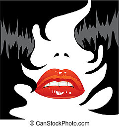 Sexy lips and black hair - illustration. Person brunette....