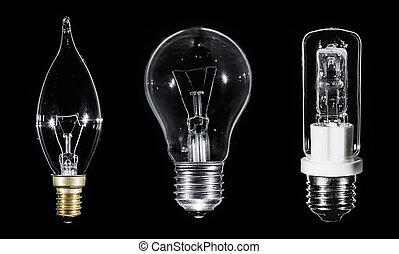 EDISON,  collage, sopra,  3, nero, lampade