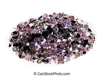 Purple jewel stones heap over white