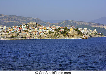 Greece, Kavala, Panaghia peninsula with homes, Imaret and...