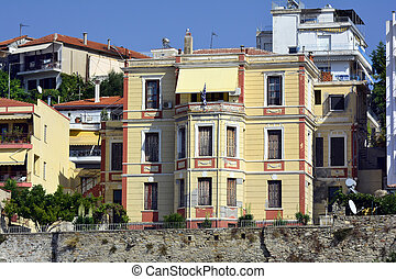 Greece, Kavala, homes on Panaghia peninsula