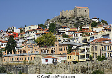 Greece, Kavala, Imaret, homes and fortress
