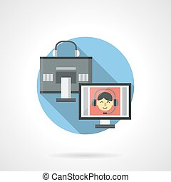 Digital communication color detail vector icon - Two...