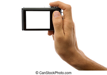 Photo camera in hand isolated on white