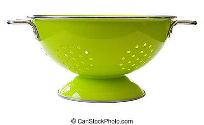 colander - a bright green colander. Isolated on white