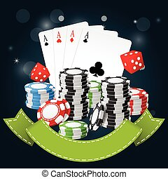 Gambling and casino poster - poker chips, playing cards and...
