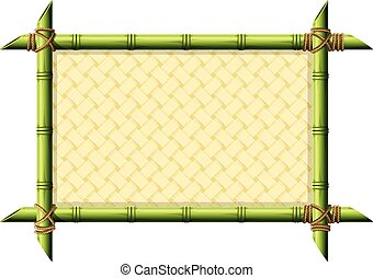Bamboo frame with wicker pattern