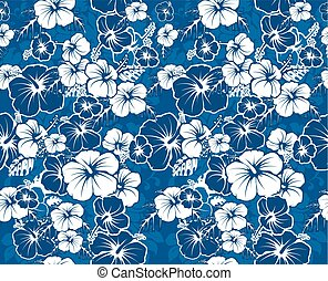 Blue floral Hawaiian background - Blue floral seamless...