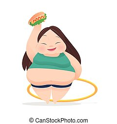 Fat woman with fast food on her hands