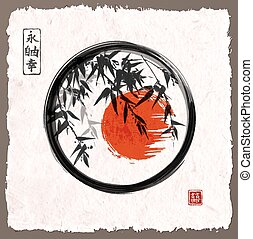 Bamboo trees and red sun in black enso zen circle