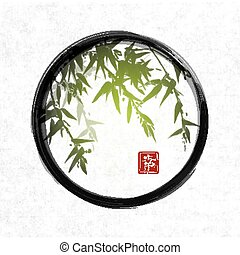 Green bamboo in black enso zen circle.