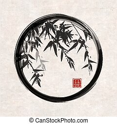 Bamboo trees in black enso zen circle hand-drawn with ink in...