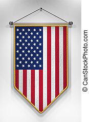 USA Flag Pennant - Pennant with USA flag 3D illustration...