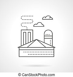 Ironworks plant flat line vector icon - Heavy industry...