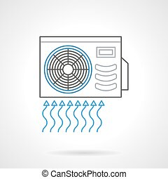 Outdoor air conditioner flat line vector icon - Outdoor unit...