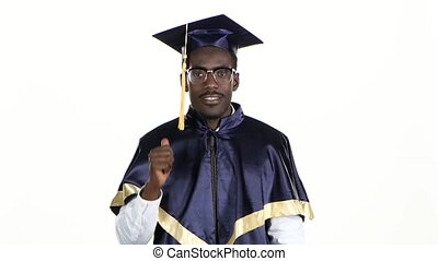 Black man in dressed for graduation White Close up - Black...