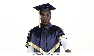 Graduate showing thumbs down White Close up - Graduate...