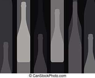 Bottles black background