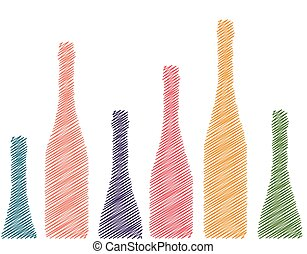 Set of bottles - Background with wine bottles