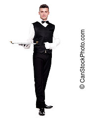 Bartender with a tray on a white background