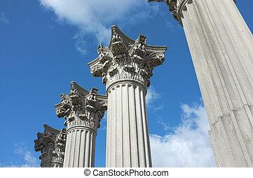 Corinthian Column Capitals - Elegant Corinthian capitals set...